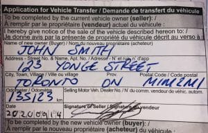 Application for Vehicle Transfer in Ontario
